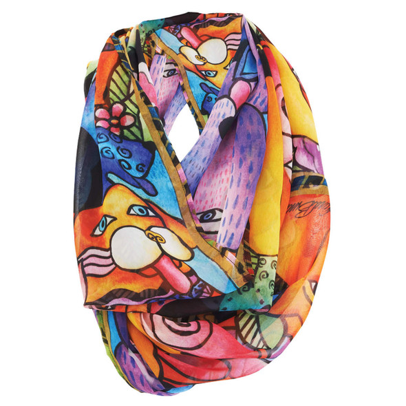 Laurel Burch Canine Family Artistic Infinity Scarf LBI213