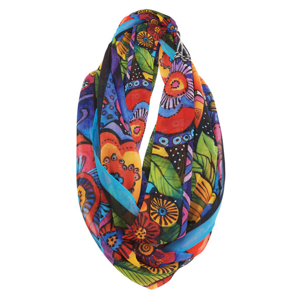 Laurel Burch Felines and Flowers Artistic Infinity Scarf LBI215
