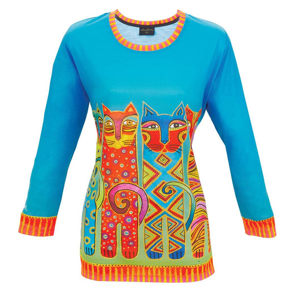 Laurel Burch 3/4 Sleeve Tee Shirt Feline Clan Cats