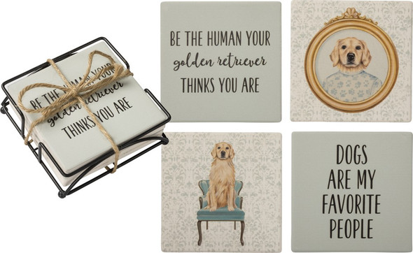 Golden Retriever Stoneware Coasters and Metal Wire Holder