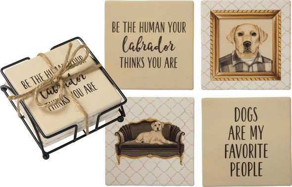 Yellow Lab Stoneware Coasters and Metal Wire Holder - Set of 4