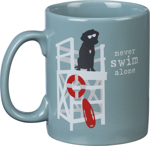 Never Swim Alone - Dog Themed Coffee Mug - Holds 20 oz