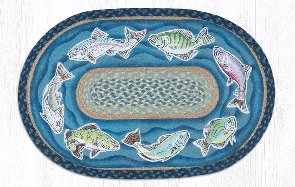 "Fish Swimming Oval Hand Printed Braided Patch Floor Earth Rug 20""x30"" - OP-362-FISH"