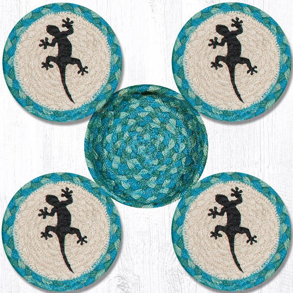 "Gecko Teal Natural Braided Coasters in Jute Basket by Earth Rugs 5"" CNB-473"