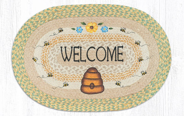 "Welcome Buzzing Bee Hive Oval Hand Printed Braided Floor Earth Rug 20""x30"" - OP-566"