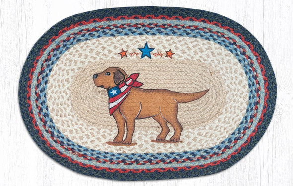 Patriotic Dog Hand Printed Oval Braided Floor Earth Rug 20x30 - OP-015