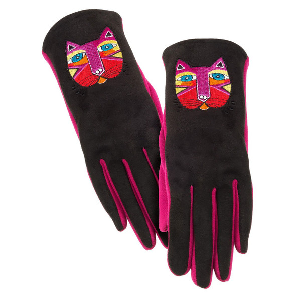 Black and pink gloves featuring a festive cat