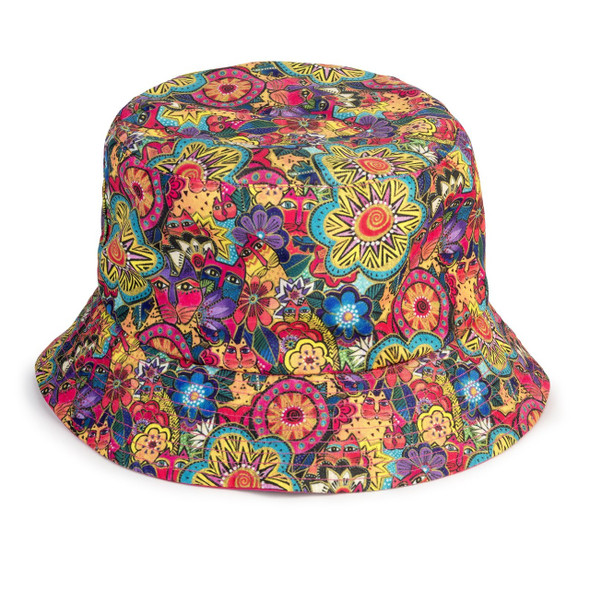 Laurel Burch Felines Garden Reversible Bucket Hat