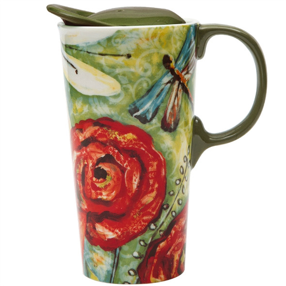 Ceramic Travel Cup Garden 17 OZ with Gift Box