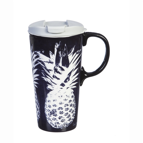 White Pineapple - Dark Navy Ceramic Travel Cup - 17oz 3CTC5862L