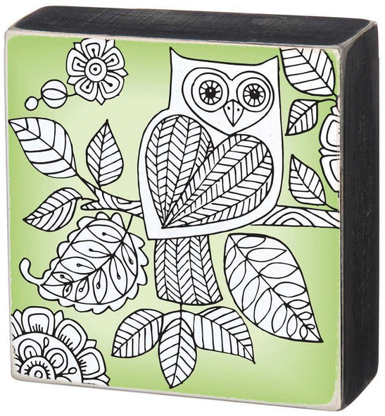 Owl 4 inch Square Colorable Wall Art - Color a Sign - 32216