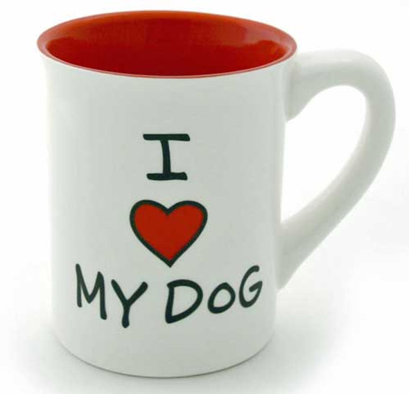 "Dog Theme Stoneware Mug ""I Heart My Dog"" 4033464"