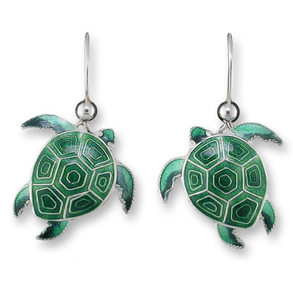 Turtle Sterling Silver Drop Earrings 32-33-01