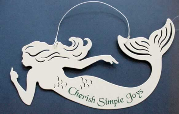 "Mermaid Tin Sign ""Cherish Simple Joys"" - 33251B"