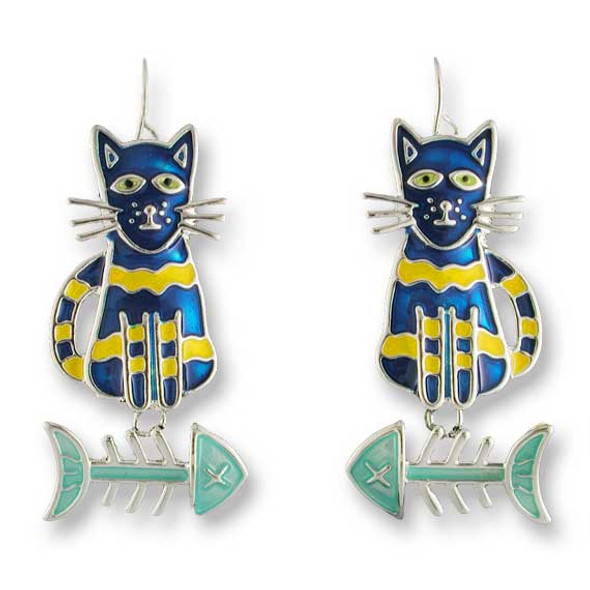 Calypso Cat-Fish Silver Drop Earrings 01-13-Z1