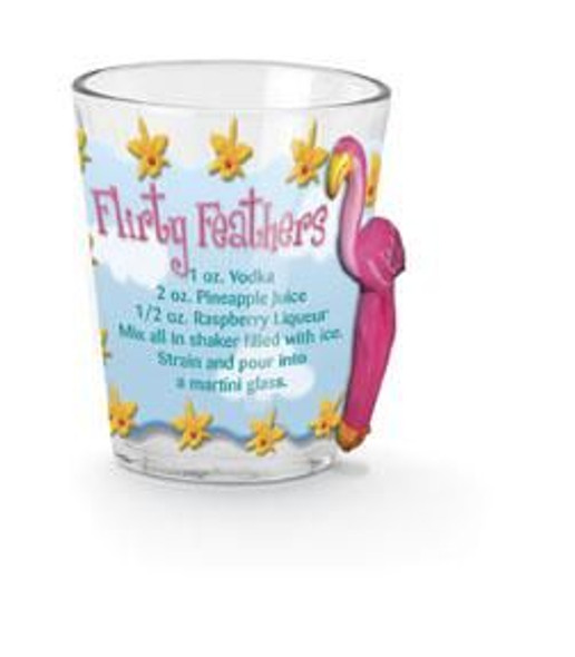 "Pink Flamingo Shot Glass ""Flirty Feathers"" - 839-84"
