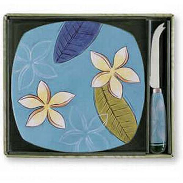 Plumeria Twilight Tile and Cheese Knife - Ceramic Stoneware - 99-11504-100