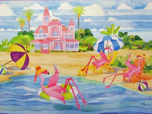 Birthday Card Pink Flamingo Relaxing BDG13199