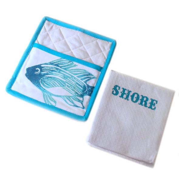 Shore Life Pot Holder & Towel Set 25960-Shore