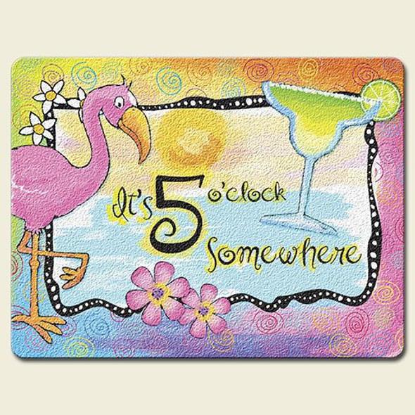 "Pink Flamingo ""5 O'clock Somewhere"" Glass Surface Saver Cutting Board Large- LGCUT819"
