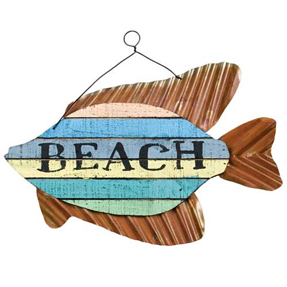 "Colorful Fish Sign - ""Beach"" - 70147B"