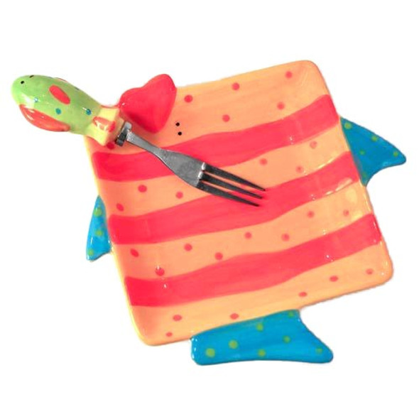 Ceramic Tropical Fish Plate w/ Fork