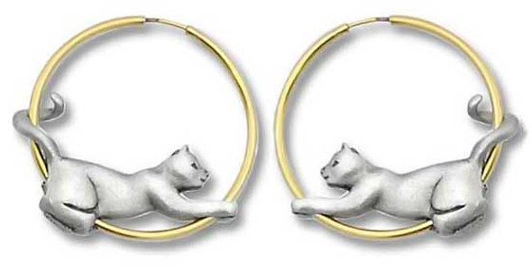 Cat Two Tone Pierced Hoop Pewter Earrings 1085EP