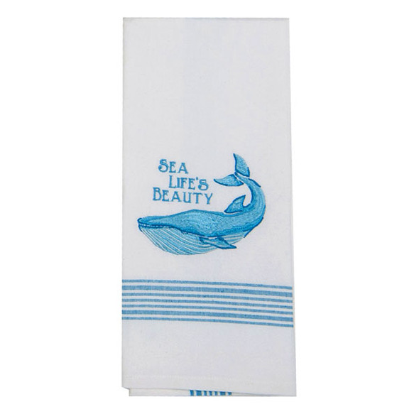 Whale Sea Embroidered Tea Towel F0735