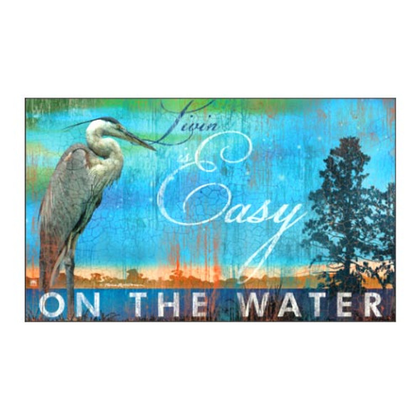 "Livin Easy on the Water Crane Floor Mat - 18"" x 30"" - MatMates - 12315D"