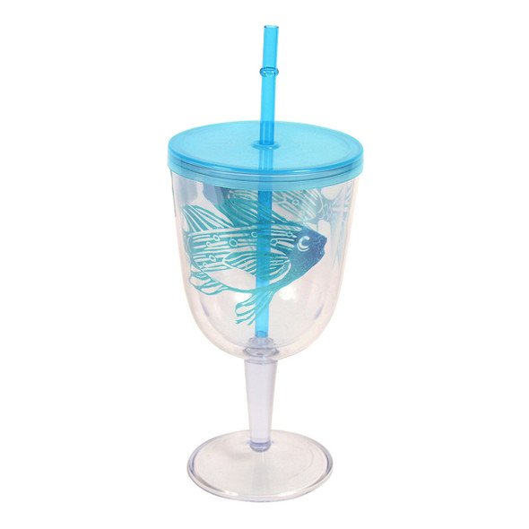Fish Design Insulated Plastic Wine Goblet Lid & Straw - 26030A