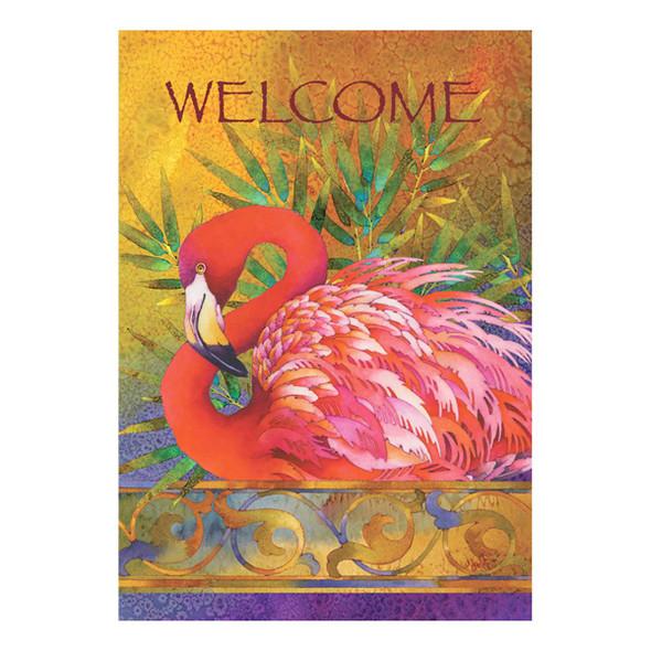 Welcome Pink Flamingo GARDEN Flag - 119458