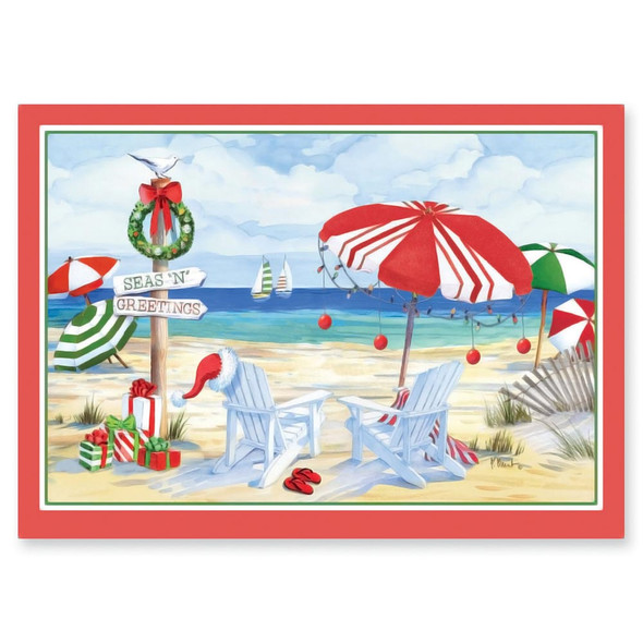 Holiday Beach Signs 5x7 Christmas Card 16 Count 27-071