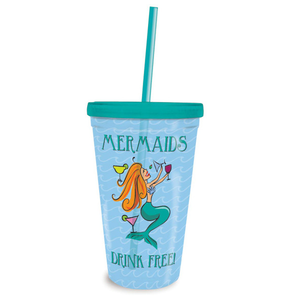 Mermaids Drink Free Insulated 16oz Tumbler & Straw 825-90
