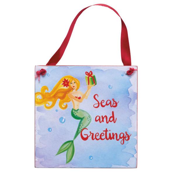 """Mermaid Christmas Wood Seas and Greetings 4"""" Sign - 33883"""