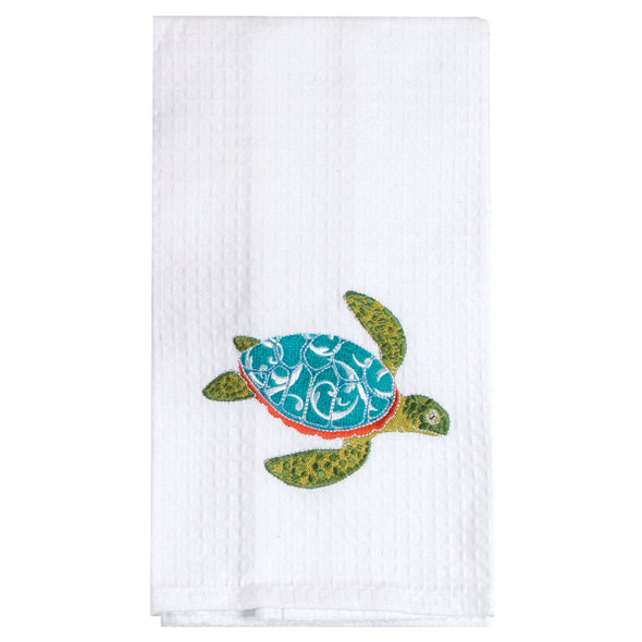 Sea Turtle Embroidered Cotton Waffle Towel - F0774