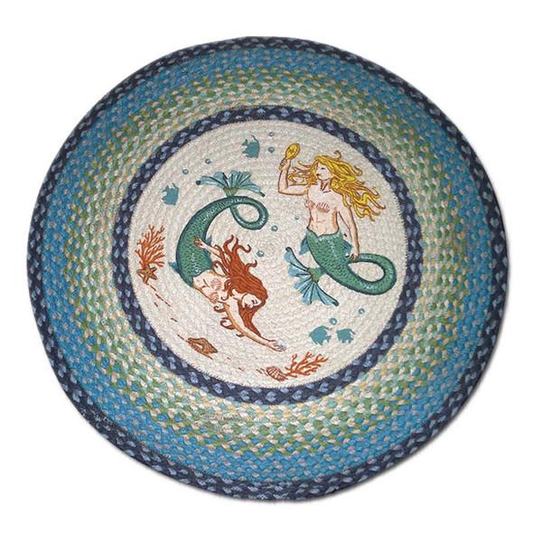 """Mermaid Sisters 27"""" Hand Printed Round Braided Floor Rug RP-386"""