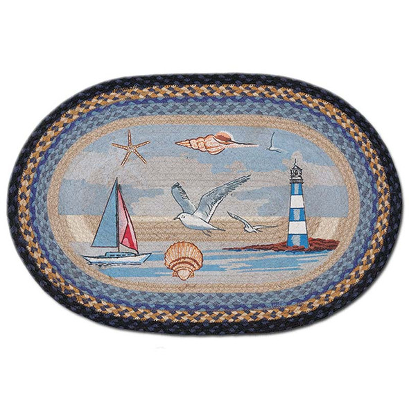 Sail Boat Bay 20x30 Hand Printed Oval Braided Floor Rug OP-454
