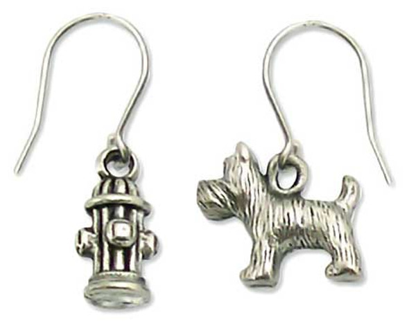 Dog and Fire Hydrant Pewter Drop Earrings 1289EP