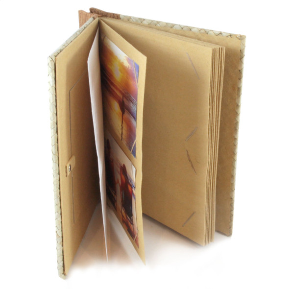 "Cinnamon Palm Leaf Photo Album Scrapbook Handcrafted 9"" x 9.75"" x 1.25"