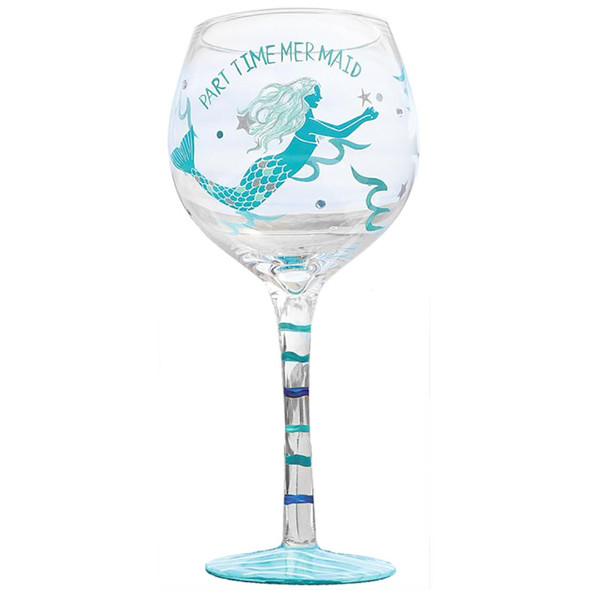 Mermaid Handpainted Part Time Mermaid Stemware Wine Glass