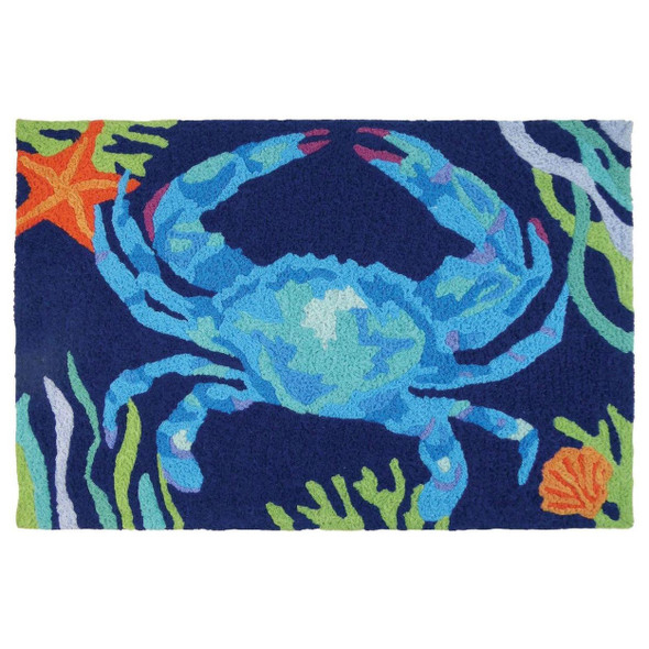 Deep Blue Crab Indoor Outdoor Washable Rug