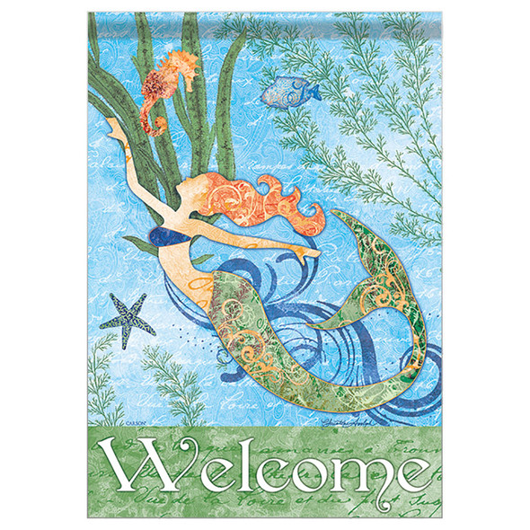 "Mermaid and Seahorse Welcome Garden Flag - 12""x 18"" - 46789"