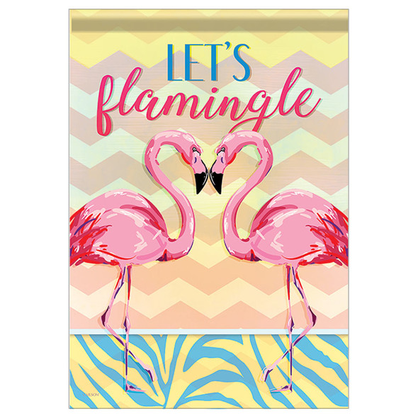 "Let's Flamingle Flamingo Themed Garden Flag - 12.5""x 18"" - 46919"