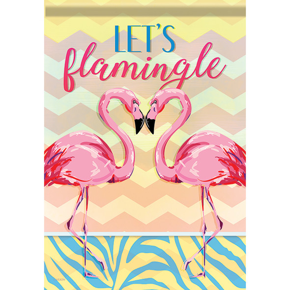 "Let's Flamingle Flamingo Themed House Flag - 40"" x 28"" - 48919"