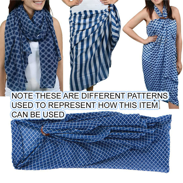 Other uses! Blue and White Quatrefoil Pattern Sarong - 20151C