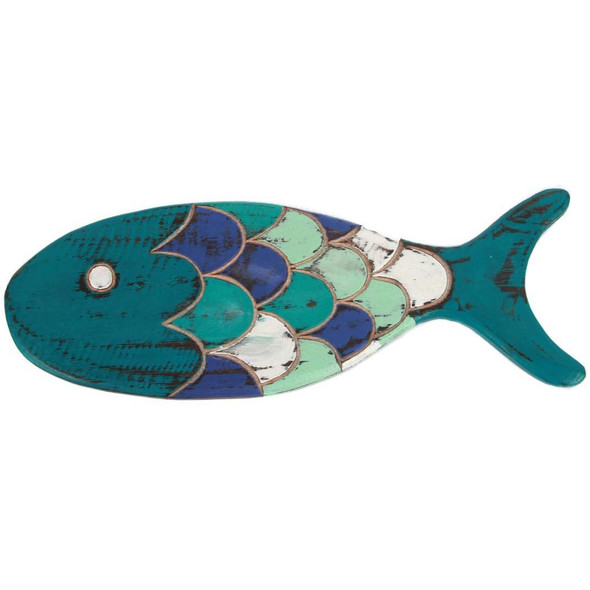 Hand Carved Wood Blue Fish Sign -25297A