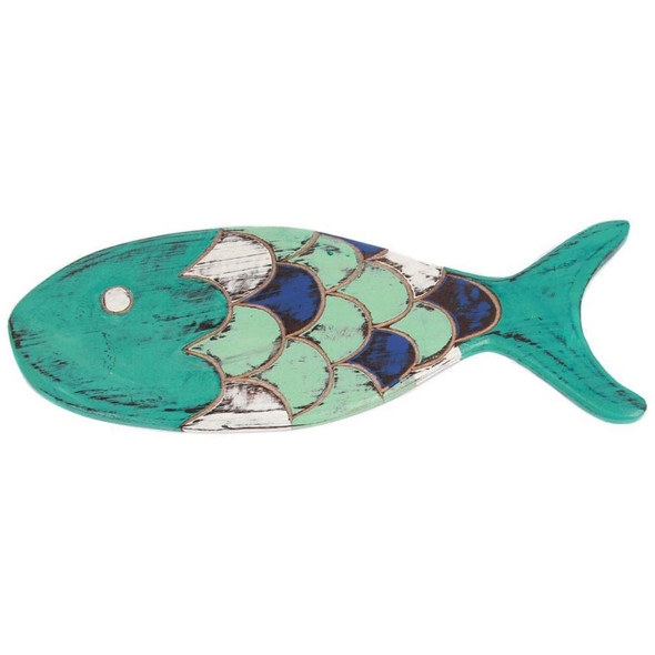 Hand Carved Wood Blue Fish Sign -25297B