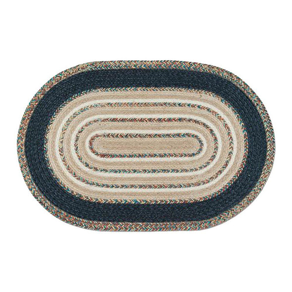 Blue and Tan 20x30 Oval Braided Floor Rug ITC-782