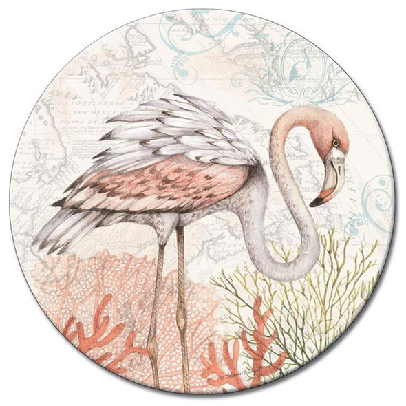 "Flamingo - Glass Lazy Susan - 13"" Round - Shoreline"