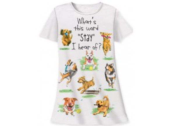 "Dog Theme Sleep Shirt Pajamas ""Whats This Word Stay"" - 356OT"